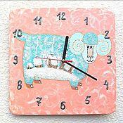 Watch handmade. Livemaster - original item Wall clock Lamb winter, handmade watches, baby. Handmade.