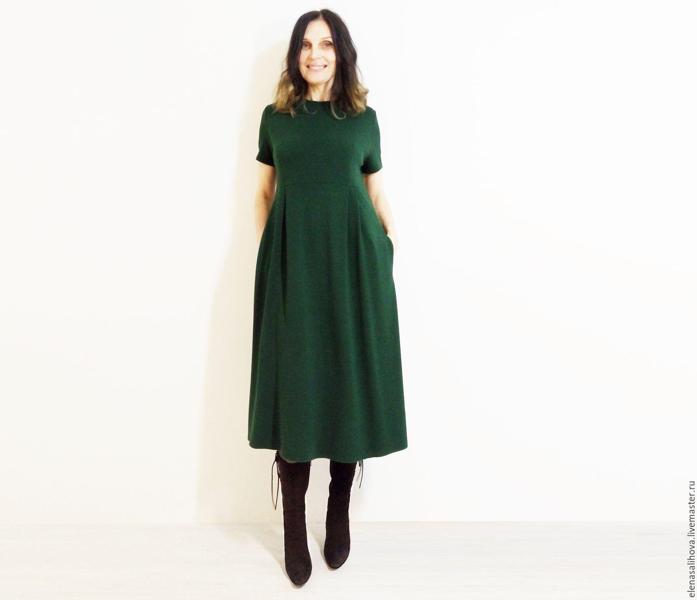 Платья ручной работы. Ярмарка Мастеров - ручная работа. Купить Платье из джерси Изумруд миди. Handmade. Платье осеннее
