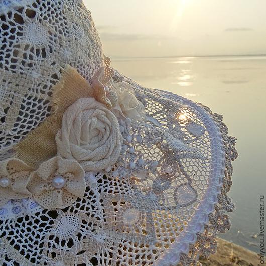 Шляпы ручной работы. Ярмарка Мастеров - ручная работа. Купить Кружевная шляпка «Чудесные мгновенья». Handmade. Белый, пляжный сезон