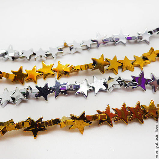 Для украшений ручной работы. Ярмарка Мастеров - ручная работа. Купить 1423. Гематит бусины звезды золото серебро. Handmade.