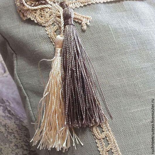 Текстиль, ковры ручной работы. Ярмарка Мастеров - ручная работа. Купить Подушка (наволочка) льняная с кистями 40х40. Handmade. Серый