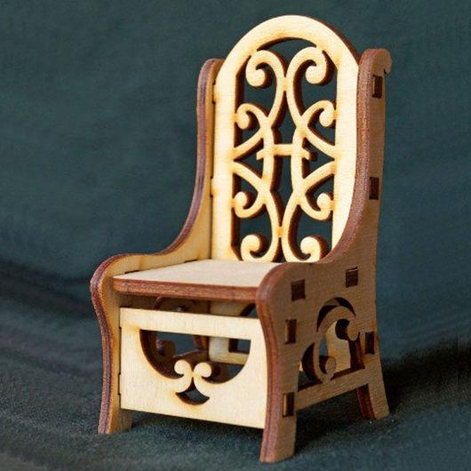 Куклы и игрушки ручной работы. Ярмарка Мастеров - ручная работа. Купить Резной стул из фанеры - кукольная мебель. Handmade. Бежевый
