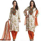 Одежда handmade. Livemaster - original item Salwar kameez made of crepe (tunic, trousers and shawl). Handmade.