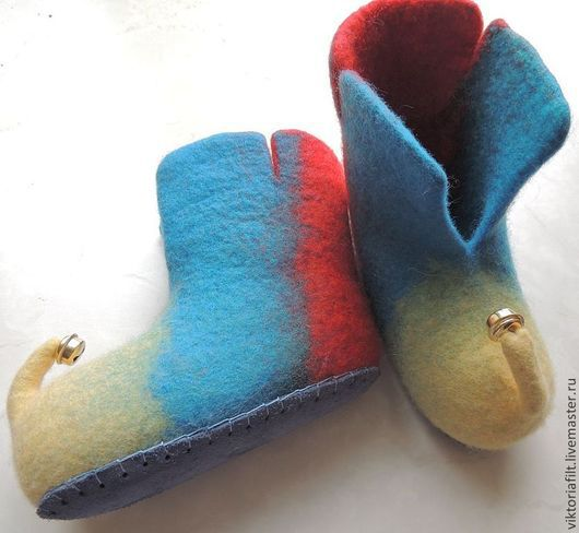"""Обувь ручной работы. Ярмарка Мастеров - ручная работа. Купить Тапочки детские """"Тапочки для гномика"""". Handmade. Тапочки детские, желтый"""