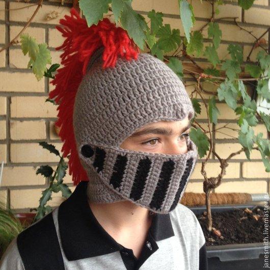 Шапки ручной работы. Ярмарка Мастеров - ручная работа. Купить вязаный шлем рыцаря. Handmade. Вязаные шлем рыцаря