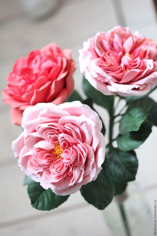 """Цветы ручной работы. Ярмарка Мастеров - ручная работа. Купить Роза """"Остин"""" из глины claycraftbydeco. Handmade. Ярко-красный, роза"""