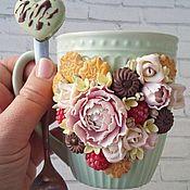 """Кружки ручной работы. Ярмарка Мастеров - ручная работа Кружка """"К чаю"""" мятная. Handmade."""