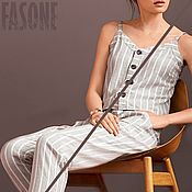 Одежда handmade. Livemaster - original item Women`s linen suit Summer Trouser suit with stripes. Handmade.