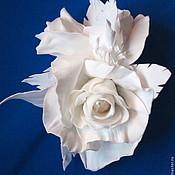 Украшения ручной работы. Ярмарка Мастеров - ручная работа брошь белая роза. Handmade.