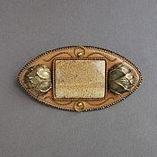 Украшения handmade. Livemaster - original item Brooch ORIENTAL SPICES jasper, brass, beads, kanitel, leather, beads. Handmade.