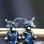 Украшения handmade. Livemaster - original item Bird earrings, silver, kyanite, tourmaline, Zirconia. Handmade.