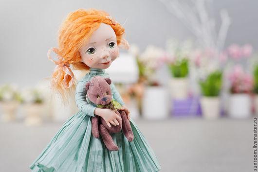 Коллекционные куклы ручной работы. Ярмарка Мастеров - ручная работа. Купить Эвелинка. Handmade. Мятный, светло серый, тедди, детство