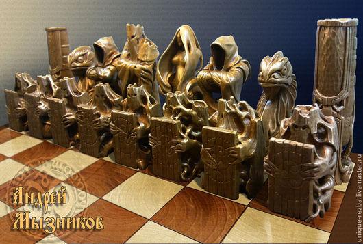 Статуэтки ручной работы. Ярмарка Мастеров - ручная работа. Купить Шахматы для Елены. Handmade. Золотой, набор шахматных фигур, chess