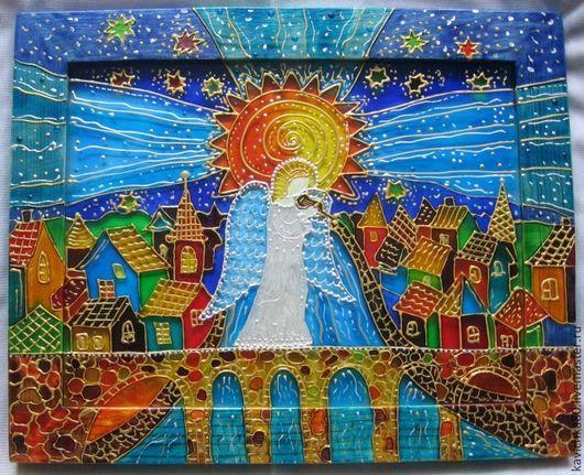 """Фантазийные сюжеты ручной работы. Ярмарка Мастеров - ручная работа. Купить """"Ангел и скрипка"""" роспись стекла. Handmade. Ангел, мост"""