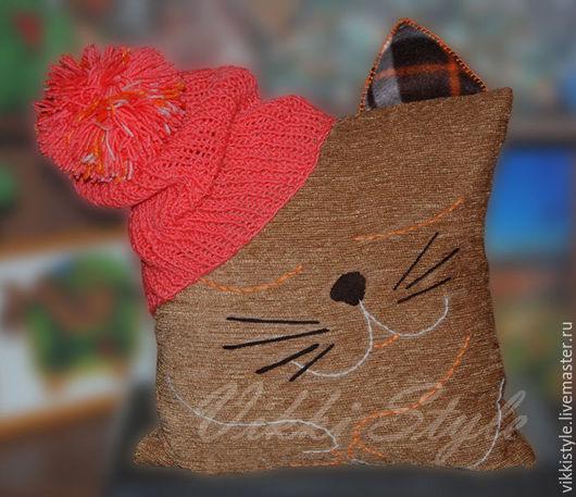 Текстиль, ковры ручной работы. Ярмарка Мастеров - ручная работа. Купить Подушка-кот. Handmade. Комбинированный, подушка, подушка декоративная