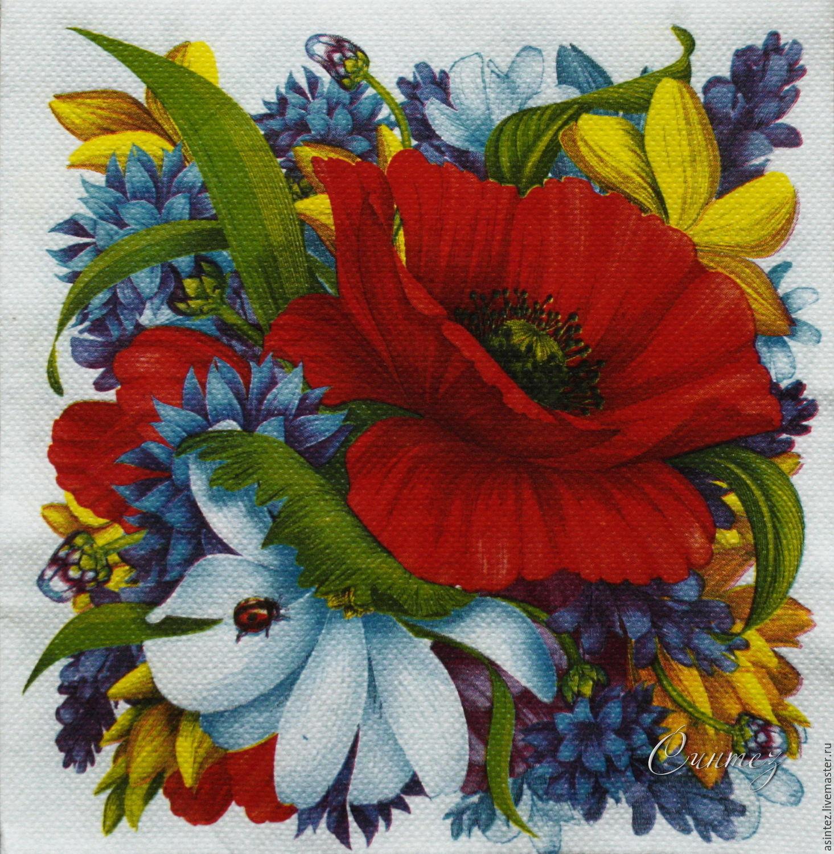 Napkins for decoupage decoupage poppy garden print \u2013 купить на Ярмарке  Мастеров \u2013 CVK61COM