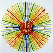 Для дома и интерьера ручной работы. Ярмарка Мастеров - ручная работа Настенные часы Весеннее равноденствие стекло фьюзинг. Handmade.