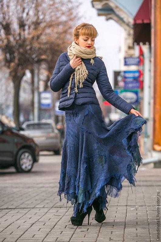 Юбки ручной работы. Ярмарка Мастеров - ручная работа. Купить Юбка цвета ИНДИГО,длинная юбка, валяние, одежда из войлока,нунофелтинг. Handmade.