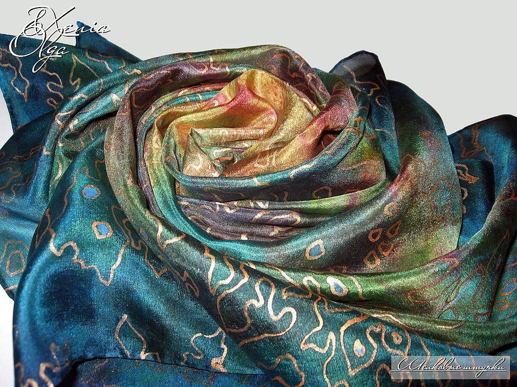 Шелковый платок с авторской ручной росписью Океания батик зеленый, Платки, Санкт-Петербург,  Фото №1