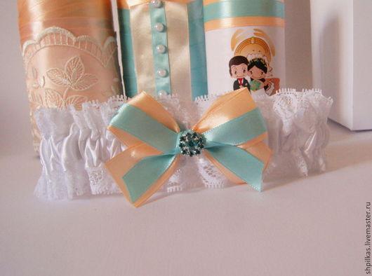 Одежда и аксессуары ручной работы. Ярмарка Мастеров - ручная работа. Купить Подвязка невесты Love is.... Handmade. Бирюзовый