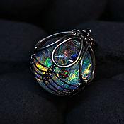 Украшения handmade. Livemaster - original item Opalescence. Pendant-nebula with planets of black opal in glass. Handmade.