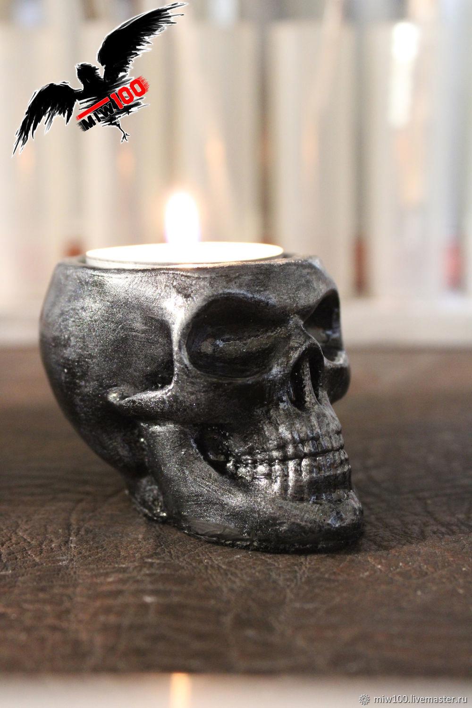 Подсвечник череп, тёмное серебро, Сувениры, Новочеркасск,  Фото №1