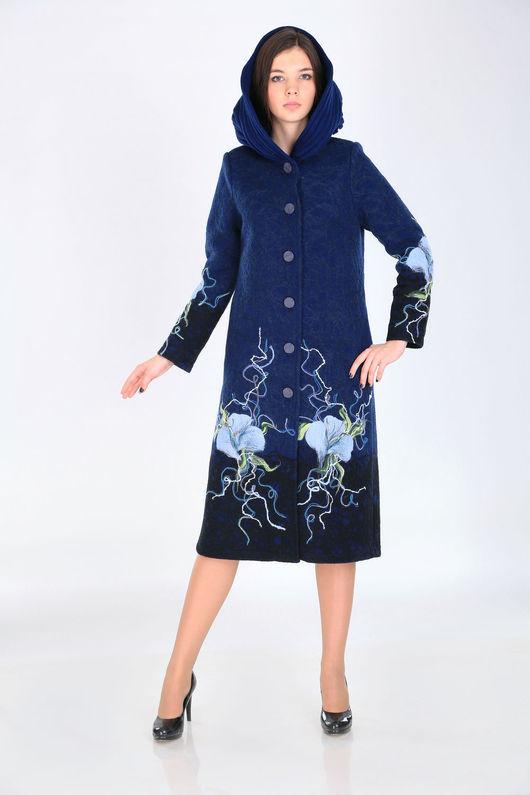 Верхняя одежда ручной работы. Ярмарка Мастеров - ручная работа. Купить Пальто П 55. Handmade. Тёмно-синий