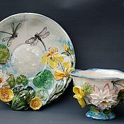 """Чайные пары ручной работы. Ярмарка Мастеров - ручная работа Чайная пара """"Лягушка и стрекозы"""". Handmade."""