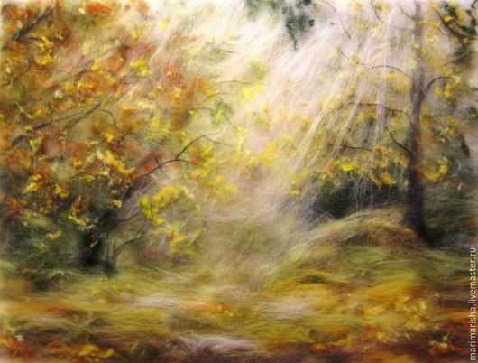 Пейзаж ручной работы. Ярмарка Мастеров - ручная работа. Купить Картина из шерсти Солнце в осеннем лесу. Handmade. Картина из шерсти