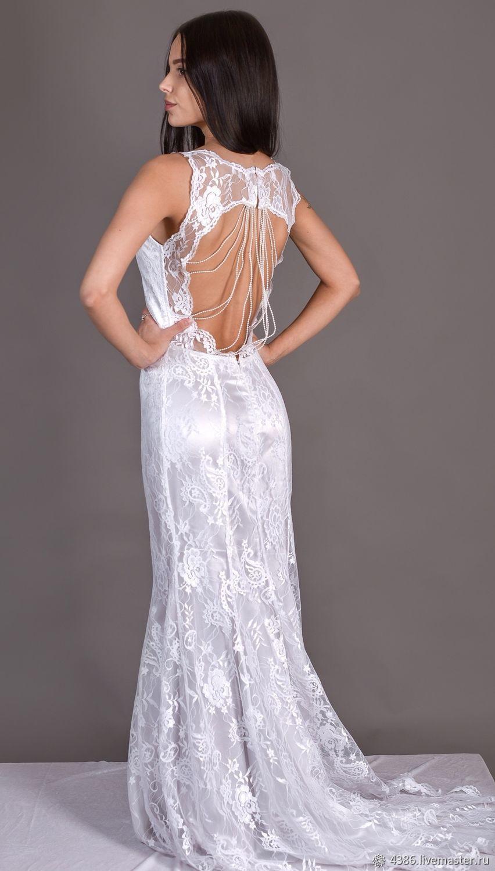 5baa9e9aeab Купить Белое платье с открытой спиной Платья ручной работы. Белое платье с открытой  спиной. Наталия Ходыкина. Интернет-магазин ...