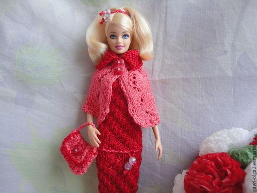 """Одежда для кукол ручной работы. Ярмарка Мастеров - ручная работа. Купить Кораллово - красный наряд """"Вечерний"""" для Барби. Handmade. пуговички"""