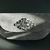 Сумки и аксессуары handmade. Livemaster - original item Dark grey suede clutch with rhinestones. Handmade.