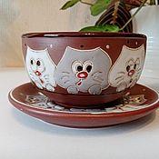 Посуда handmade. Livemaster - original item Ceramic bowl with saucer: Curious cats. Handmade.
