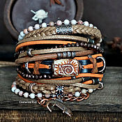 handmade. Livemaster - original item Red leather bracelet with Jasper and ceramics