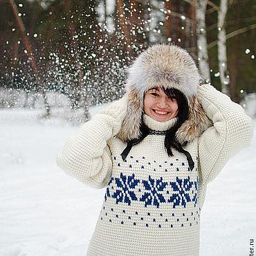 Одежда ручной работы. Ярмарка Мастеров - ручная работа Вязаный теплый свитер звездный. Handmade.
