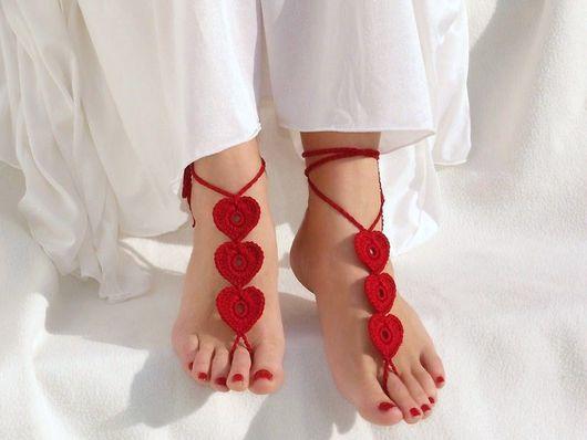 Носки, Чулки ручной работы. Ярмарка Мастеров - ручная работа. Купить Вязаные босые сандалии Сердечки. Handmade. море, йога