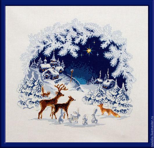 Пейзаж ручной работы. Ярмарка Мастеров - ручная работа. Купить Рождественская звезда. Вышитая картина. Handmade. Рождество, ночь