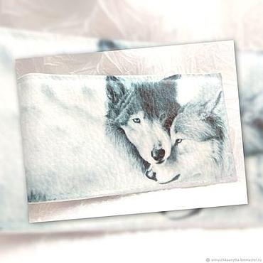 """Канцелярские товары ручной работы. Ярмарка Мастеров - ручная работа Визитница на 18 визиток """"Волчья любовь"""". Handmade."""