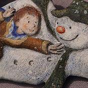 """Украшения ручной работы. Ярмарка Мастеров - ручная работа Колье в винтажном стиле """"Снеговик"""" по мотивам книги Р.Бриггса. Handmade."""