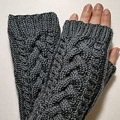 Аксессуары handmade. Livemaster - original item Mitts with braids, dark gray SC2. Handmade.