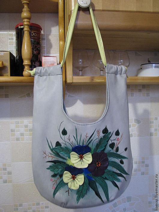 Женские сумки ручной работы. Ярмарка Мастеров - ручная работа. Купить Виола. Handmade. Рисунок, сумка кожаная, цветочная