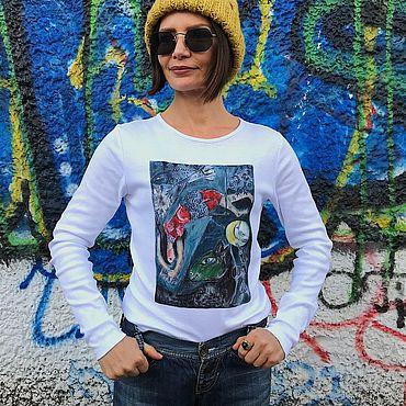 """Одежда ручной работы. Ярмарка Мастеров - ручная работа Эксклюзивная майка с ручной росписью """"Синий цирк"""". Handmade."""