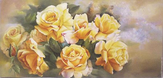 """Картины цветов ручной работы. Ярмарка Мастеров - ручная работа. Купить """"Вдыхая розы аромат"""". Handmade. Желтый, картина с цветами"""