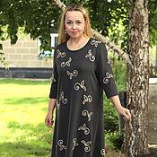"""Одежда ручной работы. Ярмарка Мастеров - ручная работа Нарядное летнее платье """"Листья и цветы -2"""" антрацит хлопок. Handmade."""