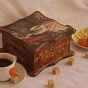 """Для дома и интерьера ручной работы. Ярмарка Мастеров - ручная работа Чайная шкатулка """"Вечерний чай"""". Handmade."""