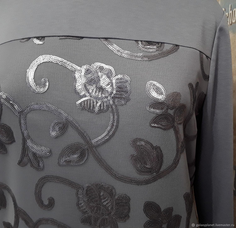 """Платье-мини/туника из джерси с пайетками """"Серый шик"""", Платья, Солнечногорск,  Фото №1"""