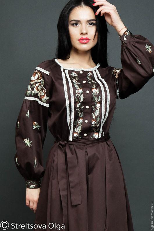 """Платья ручной работы. Ярмарка Мастеров - ручная работа. Купить Вышитое платье сарафан """"Бежево-коричневый этюд"""" ручная вышивка гладью. Handmade."""