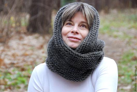 """Шали, палантины ручной работы. Ярмарка Мастеров - ручная работа. Купить Снуд-шарф темно-серый  """"Сумерки"""" (полушерсть). Handmade."""