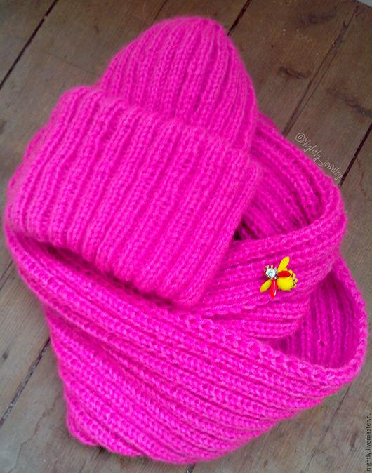 Комплекты аксессуаров ручной работы. Ярмарка Мастеров - ручная работа. Купить Комплект Такори розовый - шапка + снуд. Handmade.