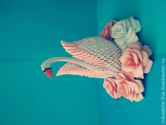 Персональные подарки ручной работы. Ярмарка Мастеров - ручная работа. Купить Модульное оригами, Лебедь.. Handmade. Белый, лебедь, бумага
